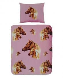 Flanellen Dekbedovertrek Paard (roze)
