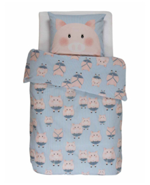 Covers & Co KIDS Dekbedovertrek Piggy (blauw) 140x200/220