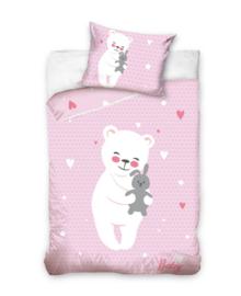 Baby Dekbedovertrek Cuddly Bear (pink) 100x135