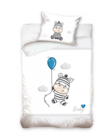 Baby Dekbedovertrek Zebra (grey/blue) 100x135