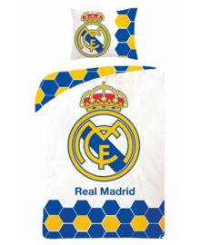 Real Madrid Dekbedovertrek Logo (wit) 140x200