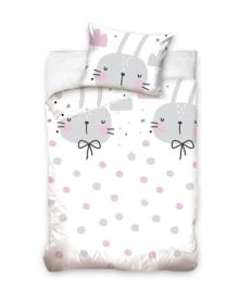 Baby Dekbedovertrek Bunnies & Dots (grey/pink) 100x135