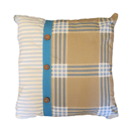 Marieke at Home Sierkussen Natural Check (blue) 45x45