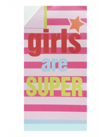 Strandlaken Girls Are Super (fuchsia) 100x180