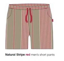 Marieke at Home Heren Shorts Natural Stripe (red)