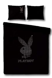 Playboy Dekbedovertrek Strass Silver (black) 140x200/220