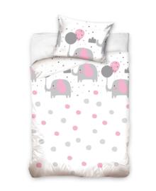 Baby Dekbedovertrek Elephants & Dots (grey/pink) 100x135