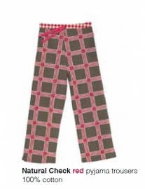 Marieke at Home Pyjamabroek Natural Check (red)