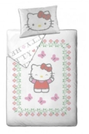 Hello Kitty Dekbedovertrek Flowers (white) 140x200