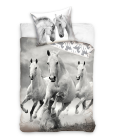 Dekbedovertrek White Horses (grey/white) 140x200