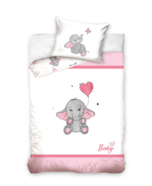 Baby Dekbedovertrek Elephant (pink) 100x135