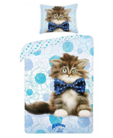 Animal Club Dekbedovertrek Cat (blue) 140x200