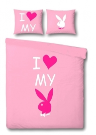 Playboy Dekbedovertrek I love my bunny (pink) 140x200/220