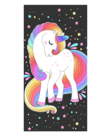 Strandlaken Rainbow Unicorn (zwart/multi)