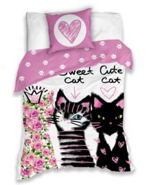 Dekbedovertrek Sweet Cats (pink) 140x200