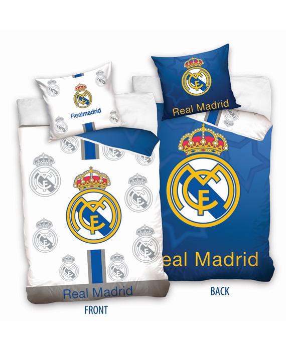 Real Madrid Dekbedovertrek Logo Double Face (wit/blauw) 140x200