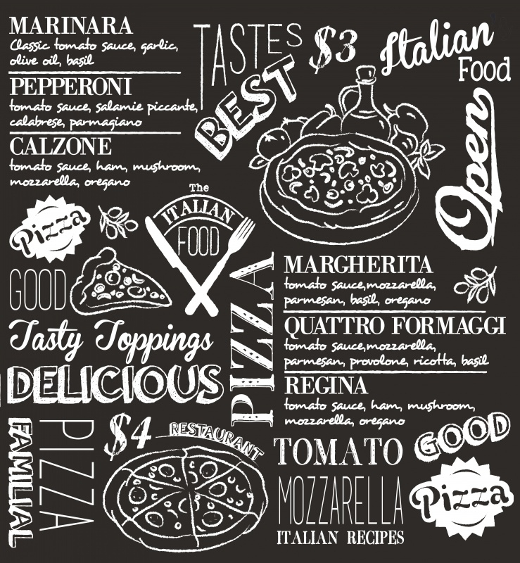 DDDDD Theedoek Italian Food (black)