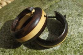 Houten oorbellen met streep
