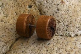 Teak houten oorbel, tree of life (per stuk)