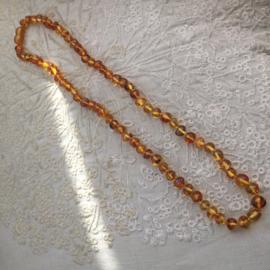 Barnsteen ketting, gepolijst, 55cm