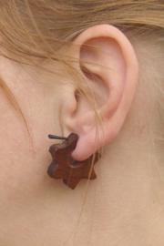 Houten oorbellen, ster