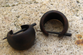 Houten oorbellen, donkerbruin