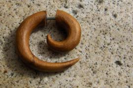 Teak houten oorbel, spiraal (per stuk)