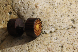 Houten oorbel, knopje (per stuk)