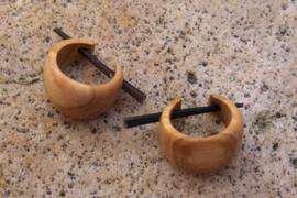 Houten oorbellen, olijfhout