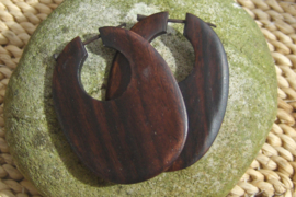 Houten oorbellen, ovaal