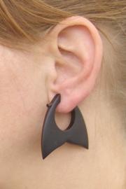 Houten oorbellen, walvis staart