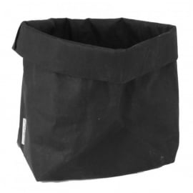 Washable paperbag medium zwart