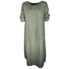 Linnen jurk army green