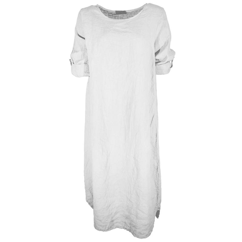 Super Linnen jurk wit | MODE & SOXS | VLECHTJES EN BRETELS EK-04