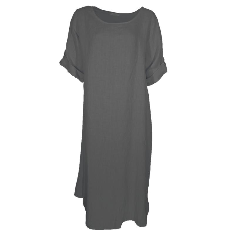 Linnen jurk antraciet