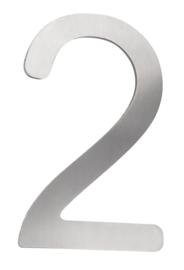 Huisnummer 2 klein model staalkleur h-16cm nr AH 2ks
