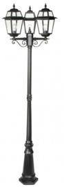 Buitenlamp mast 220cm 3-lichtpunten serie Perla zwart nr: 137