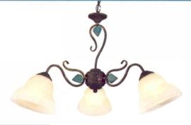 Bronskleurige hanglamp 3-lichts met gouden blaadjes nr 20337/3