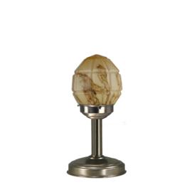 Tafellamp strak mat nikkel bs20 h32cm gemarmerde granaat kap nr 7Tu-136.60