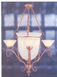 Schaallamp kasteelserie met bokaal glas en kapjes rondom nr:20413/3+3