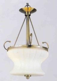 Retro hanglamp antiek messing 2-L met glazen bol nr:20363/2a