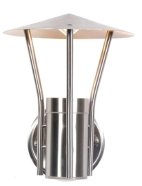 Buitenlamp wand RVS 2jr garantie nr: 21032
