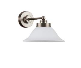 Wandlamp wand mini mat nikkel mat opaal kapje model Hoedkap 22cm nr 7WM-522.39