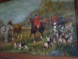 Oud schilderij  met paarden.