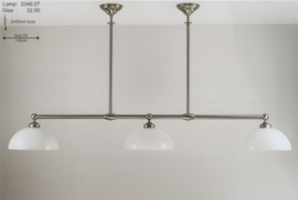 T-lamp br-140cm dub. ophanging mat nikkel opaal witte kap nr 3346.07