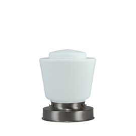 Getrapte tafellamp model blok mat nikkel met opaal kap Dop 16cm nr 7Tp1-471.00