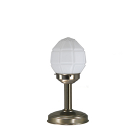 Tafellamp strak mat nikkel bs20 h32cm opaal granaat kap nr 7Tu-136.00