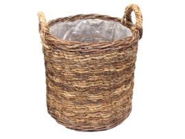 Bloemenmand Basket cilinder L ABACA natural d-46cm nr 800867B