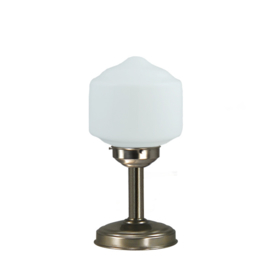 Tafellamp strak mat nikkel bs20 h34cm Zona bol opaal nr 7Tu-473.00