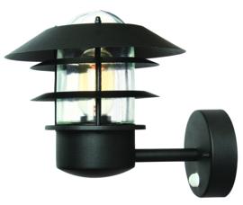 Buitenlamp wand sensor bewegingsmelder RVS zwart E27 h25cm nr 7047-10